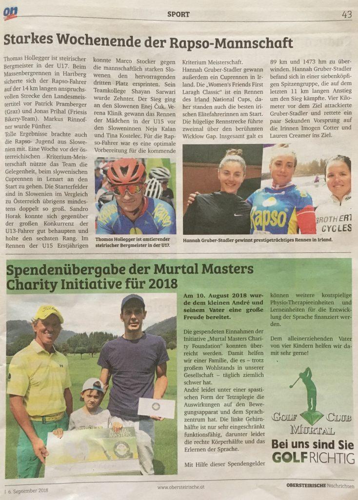 Spendenübergabe 2018 - Obersteirische Nachrichten
